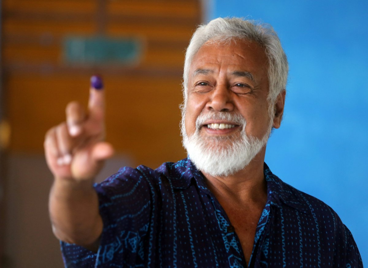 Xanana Gusmao, independence hero and the country's first president, shows his ink-stained finger after voting in the general election in Dili, East Timor, May 12, 2018. REUTERS/Lirio Da Fonseca