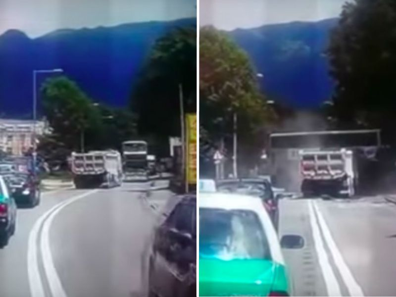The dump-truck is seen before and after it hits an oncoming bus in Yuen Long on Tuesday. Photo: YouTube