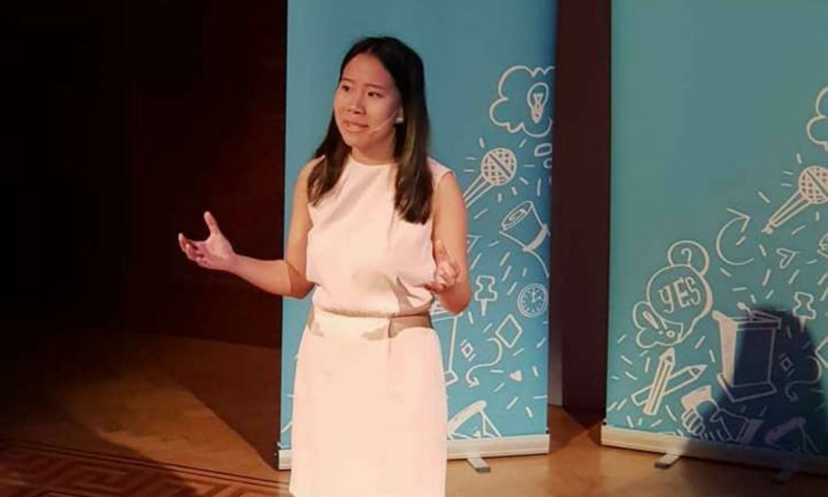 Johanne Jazmin Tan Jabines won the 38th International Public Speaking Competition in London with her speech 'One Hour at A Time'. Photo: Facebook
