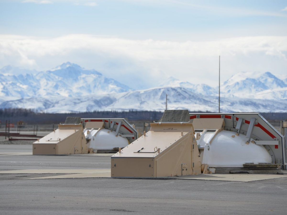 The covers of silos housing ground-based interceptor missiles at the Fort Greely missile defense complex in Fort Greely, Alaska, on April 26, 2018. Photo: Reuters/Mark Meyer