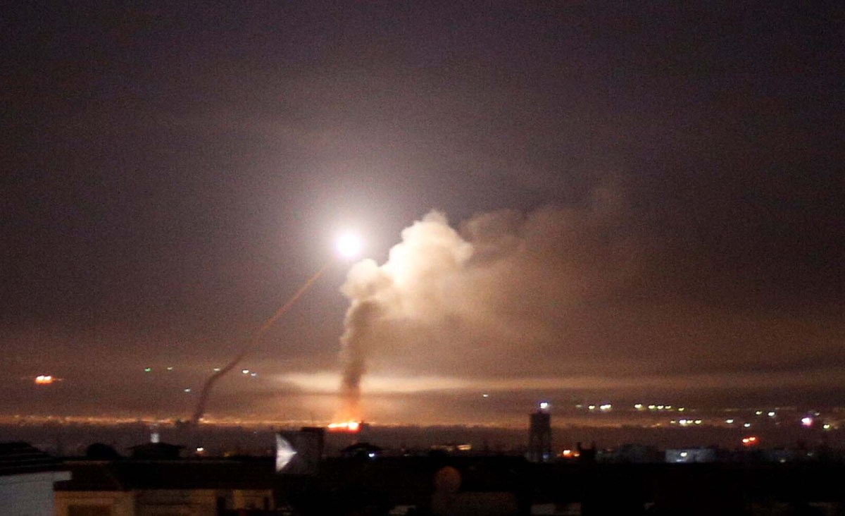 Missile fire is seen from Damascus, Syria on May 10, 2018. Photo: Reuters/ Omar Sanadiki