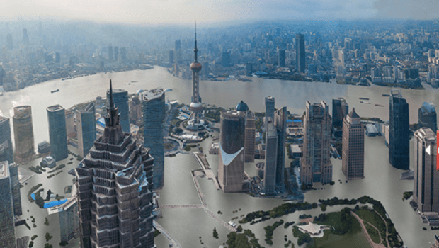 A computer-generated rendering of Shanghai's Lujiazui central business district being flooded. Photo: Weibo