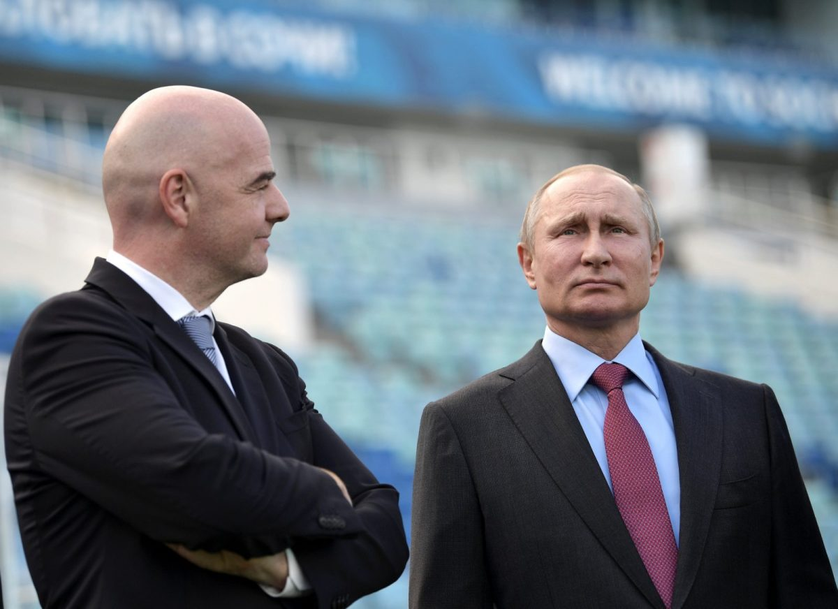 Russian President Vladimir Putin (R) and FIFA President Gianni Infantino visit the Fisht Stadium, which will host matches of the 2018 FIFA World Cup in Sochi. Photo: Reuters/Sputnik/Aleksey Nikolskyi/Kremlin