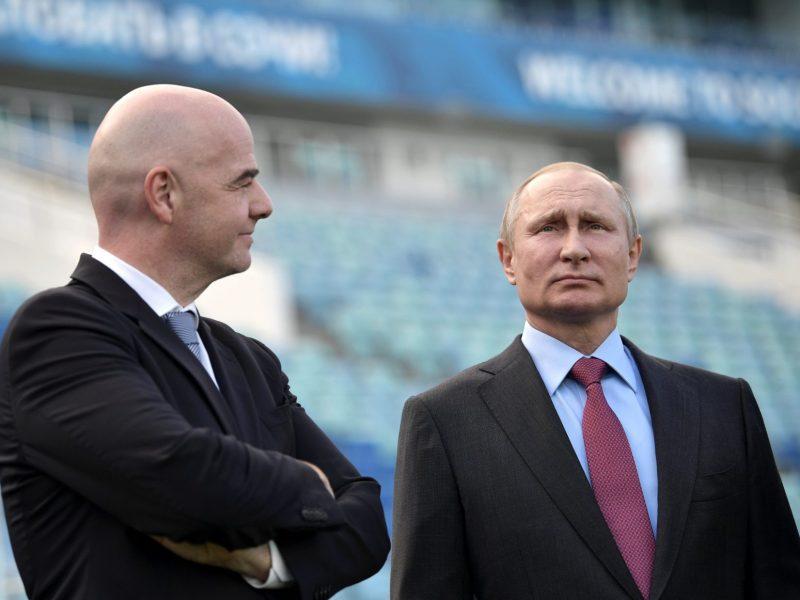 Russian President Vladimir Putin (R) and FIFA President Gianni Infantino visit the Fisht Stadium, which will host matches of the 2018 FIFA World Cup in Sochi. Photo: Reuters/Sputnik/Aleksey Nikolskyi/Kremlin