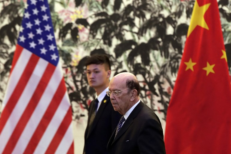 US  Commerce Secretary Wilbur Ross arrives to the Diaoyutai State Guesthouse to attend a meeting with Chinese Vice Premier Liu He in Beijing. Photo: AFP/Andy Wong