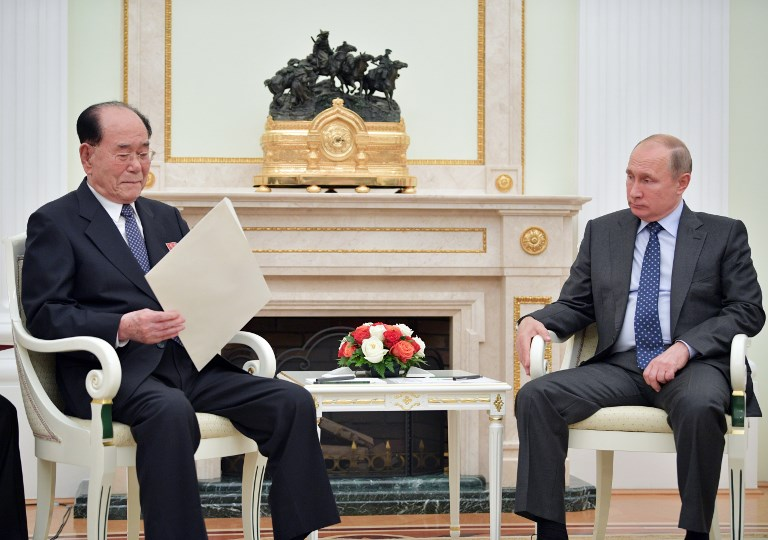 5530296 14.06.2018 June 14, 2018. Russian President Vladimir Putin and President of the Presidium of the Supreme People's Assembly of North Korea Kim Yong-nam, left, during a meeting. Alexei Druzhinin / Sputnik