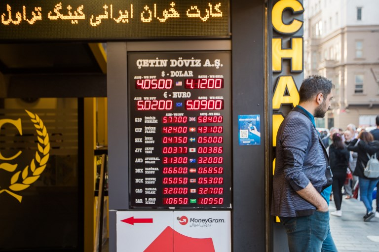 Currency prices on display in Istanbul. Photo: AFP/Emrah Oprukcu