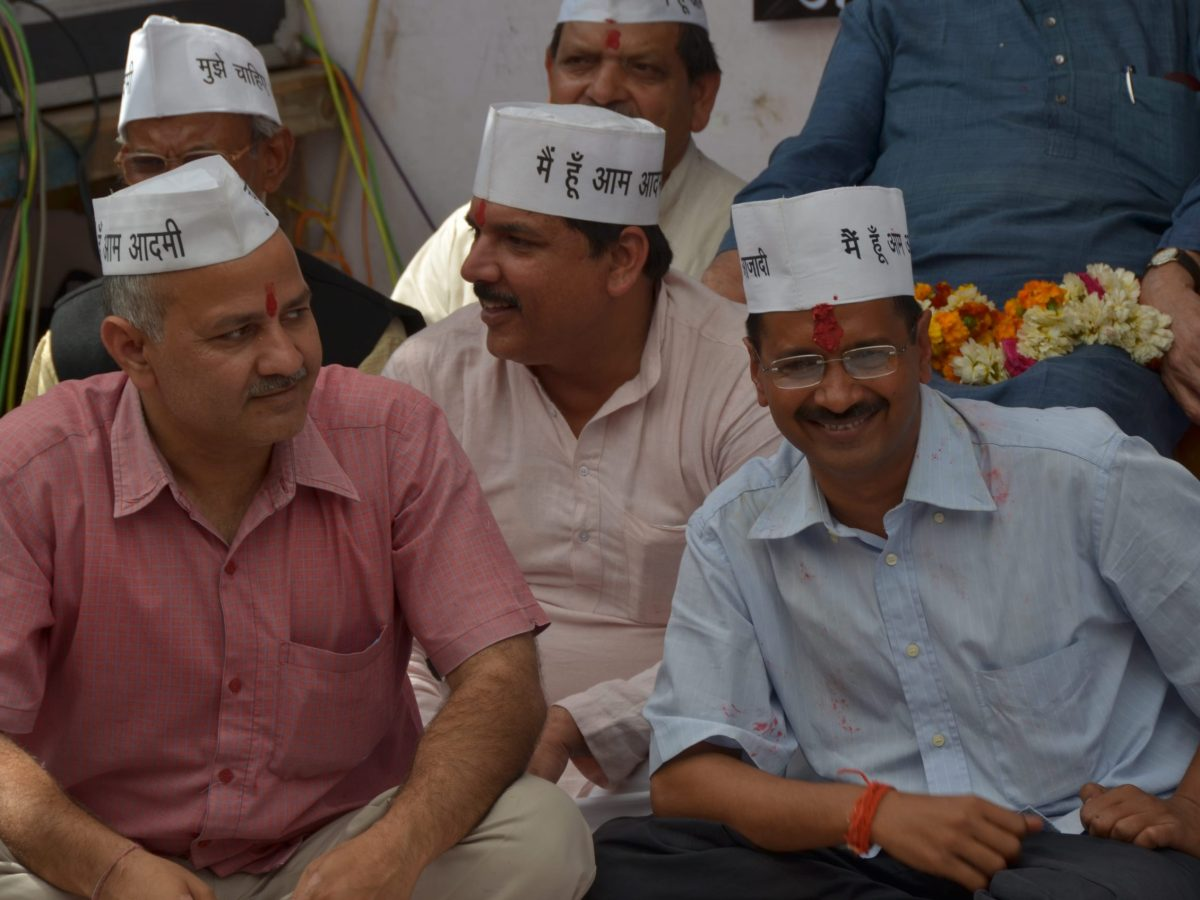 File photo of Delhi Chief Minister Arvind Kejriwal (right) and his deputy, Manish Sisodia, from an earlier sit-in protest. Photo: Courtesy Aam Aadmi Party