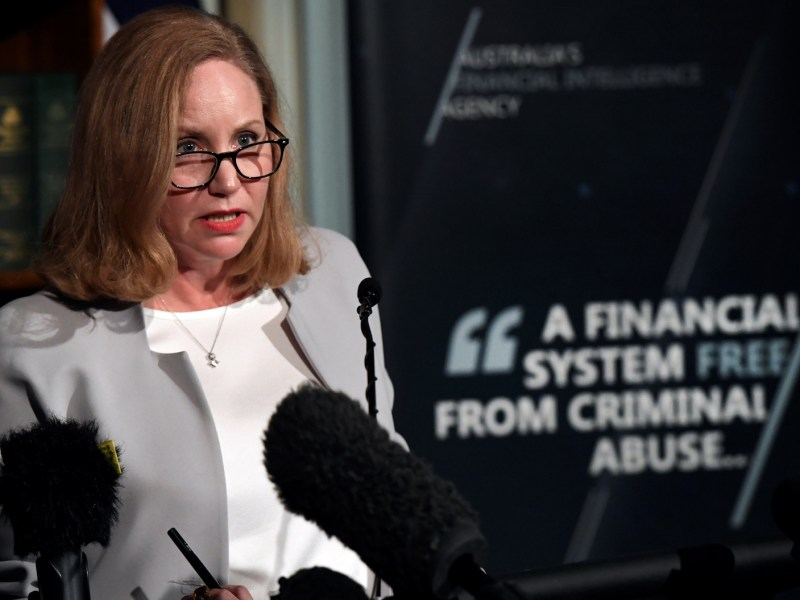 Nicole Rose, CEO of Australia's financial intelligence agency AUSTRAC, speaks at a press conference in Melbourne on Monday. Photo: AFP/ William West