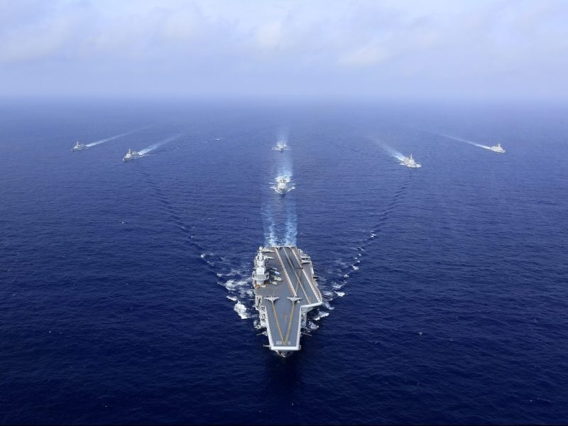 The Liaoning carrier group with destroyers and frigates during a naval exercise in the western Pacific. Photo: AFP