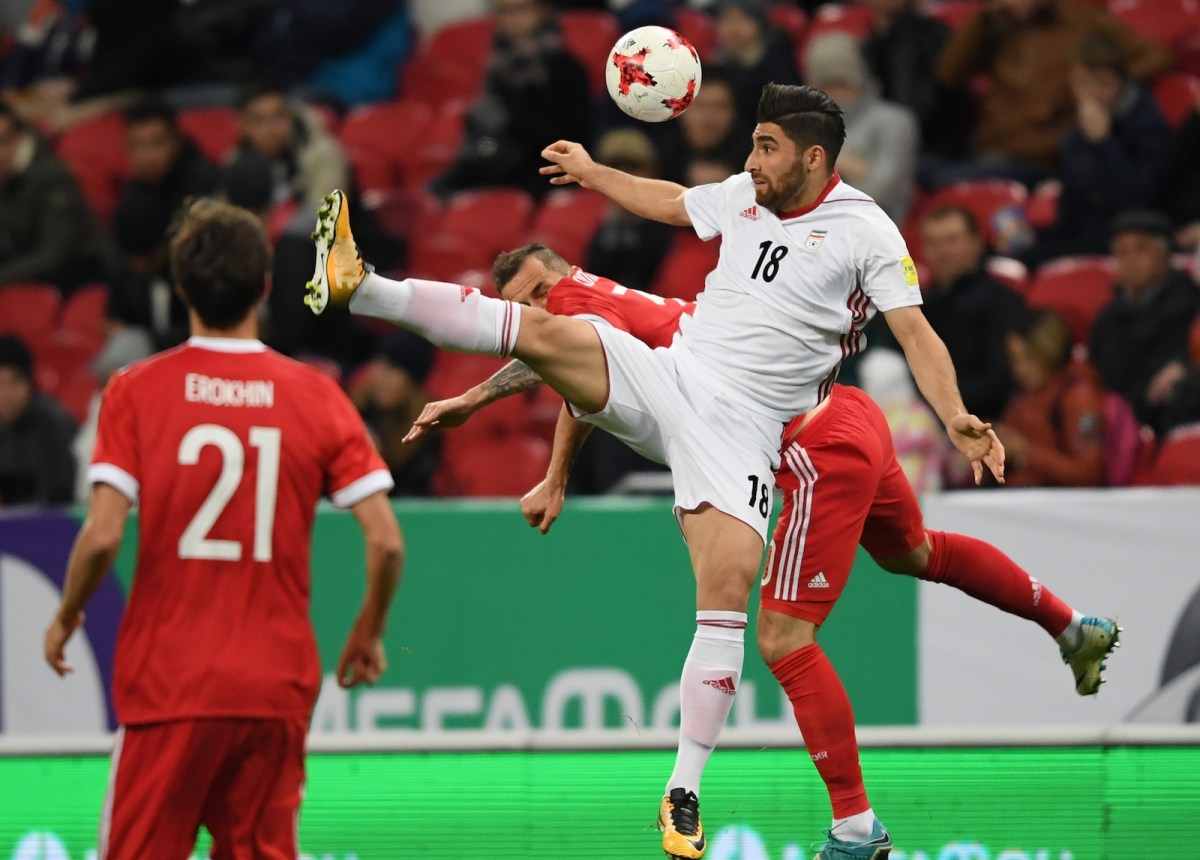 Alireza Jahanbakhsh, in the white shirt, during Iran's friendly international against World Cup hosts Russia. Photo: AFP