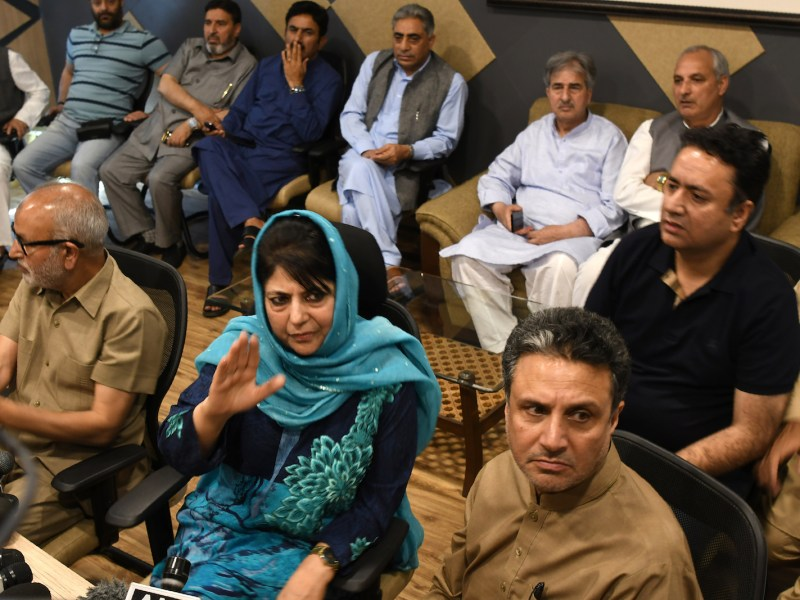 Jammu and Kashmir Chief Minister Mehbooba Mufti speaks at a press conference after submitting her resignation, in Srinagar on Tuesday. The BJP ended its alliance with the Peoples Democratic Party (PDP) blaming unrest in the northern state. Photo: AFP/ Tauseef Mustafa