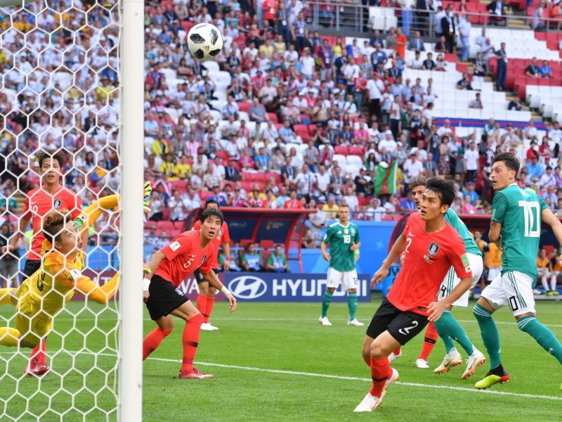 South Korea's goalkeeper dives to make one of many great saves against Germany in Wednesday night's World Cup match. Photo: AFP