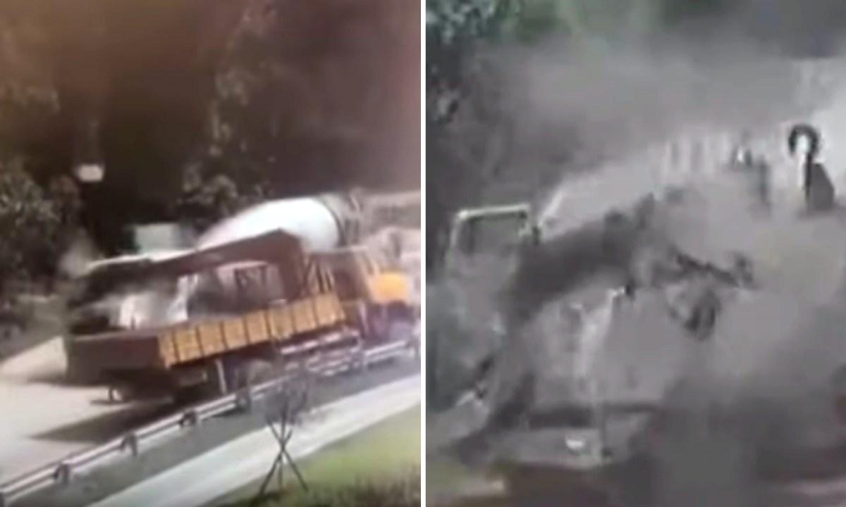 A concrete mixer truck was hit by a crane hook. Photo: Tencent video