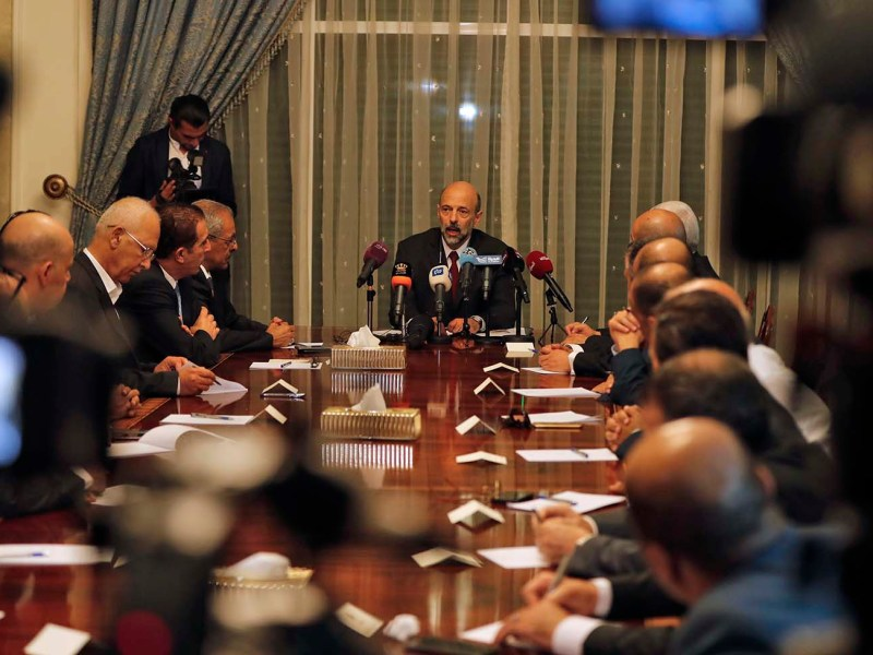 Newly appointed Jordanian Prime Minister Omar al-Razzaz meets with union leaders in Amman, on June 7, 2018. Photo: AFP/Ahmad Gharabli