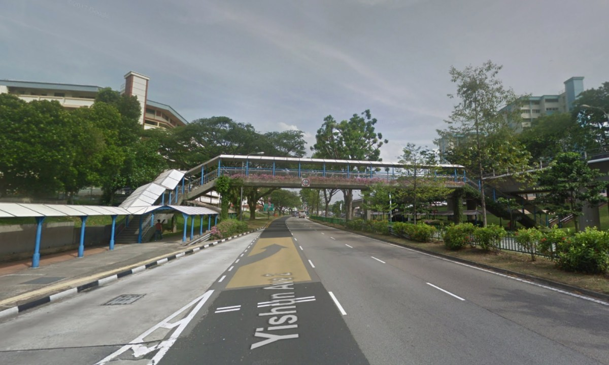 The footbridge on Yishun Avenue 2, Singapore. Photo: Google Maps