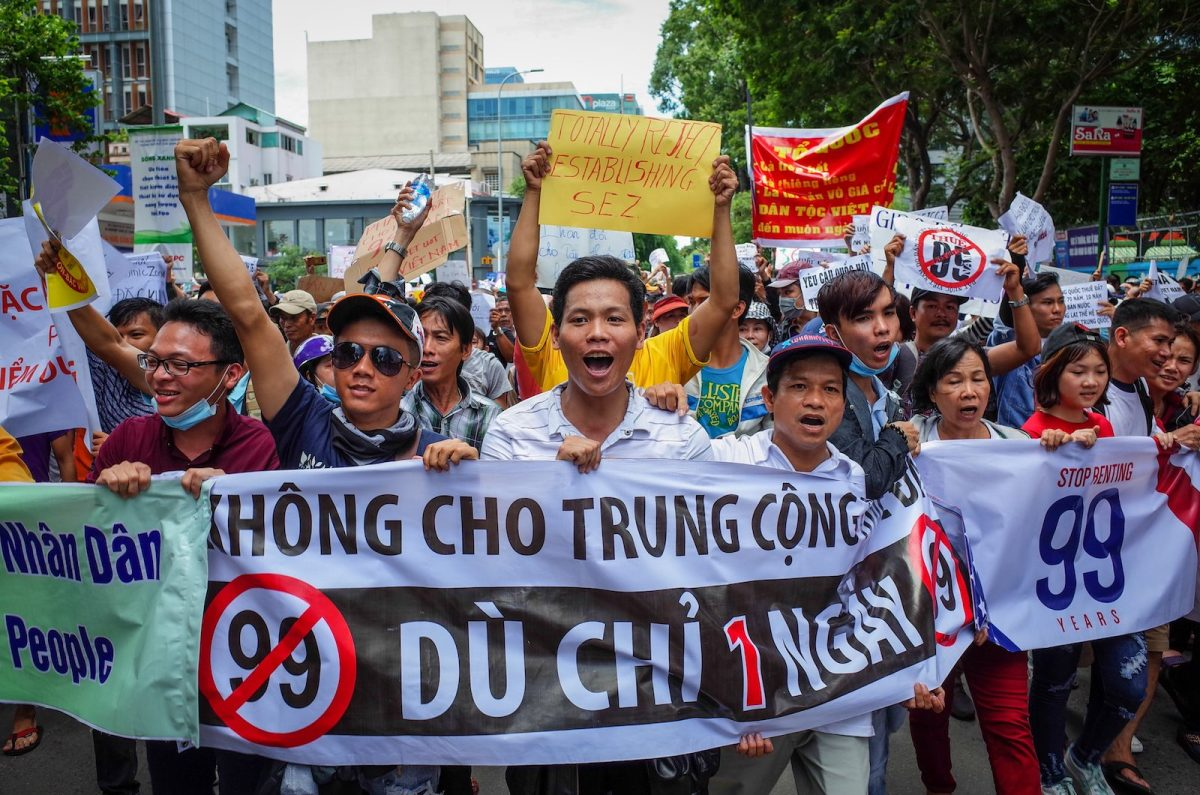 Vietnamese protesters shout slogans against a proposal to grant companies lengthy land leases during a demonstration in Ho Chi Minh City on June 10, 2018. Photo: AFP/Kao Nguyen