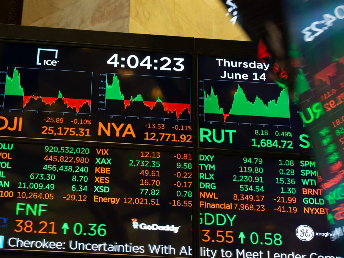Numbers on display after the closing bell of the Dow Industrial Average at the New York Stock Exchange on June 14, 2018 in New York. Photo: AFP/ Bryan R. Smith