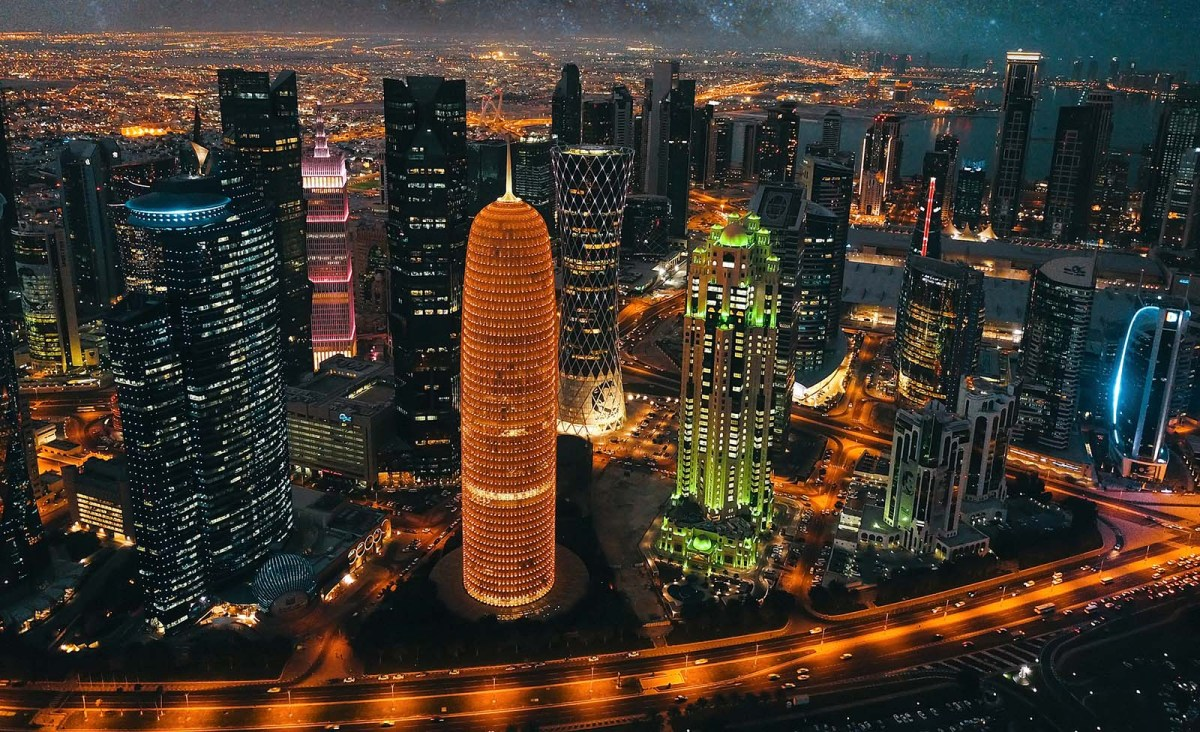 Doha's impressive skyline at night. Photo: iStock