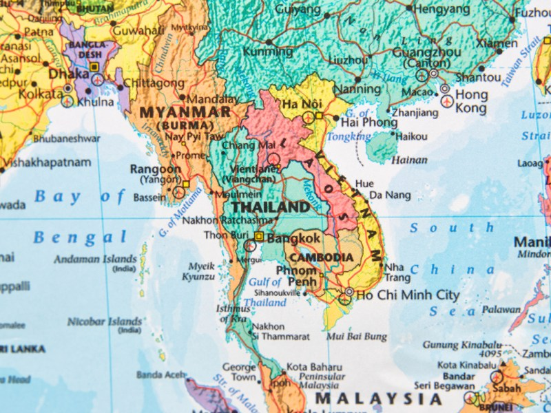 Map with Thailand in focus.