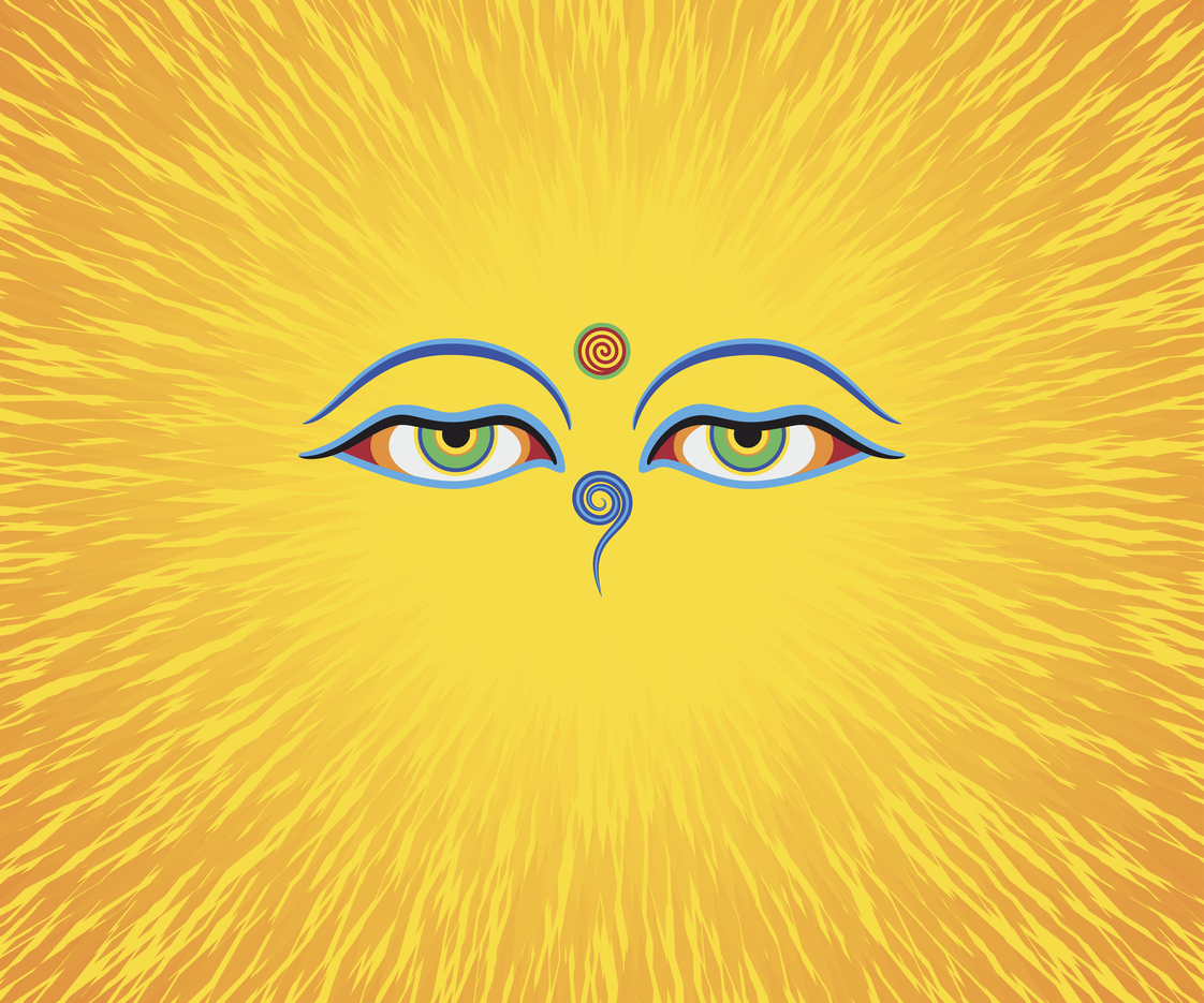 Graphic illustration of Buddha's eyes. Green eyes. Orange background. Photo: iStock