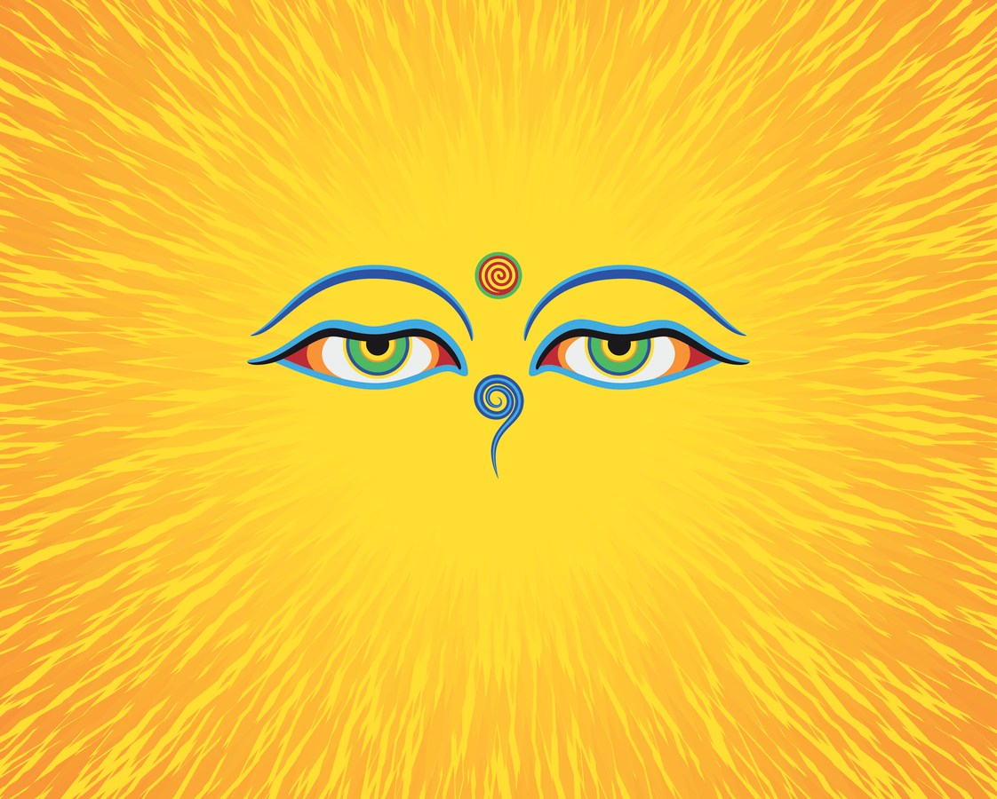 Graphic illustration of Buddha's eyes. Green eyes. Orange background. Photo: iStock