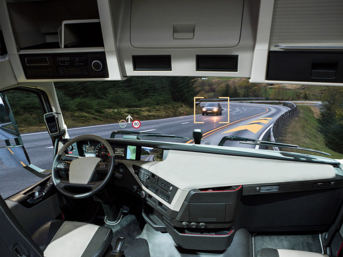 Self-driving truck with head up display on a road. Photo: iStock