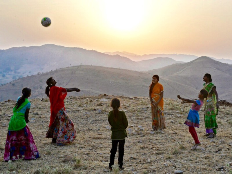 Tribal girls work on their volleyball skills in the village of Kelu Khadra. Photo: Rohit Jain