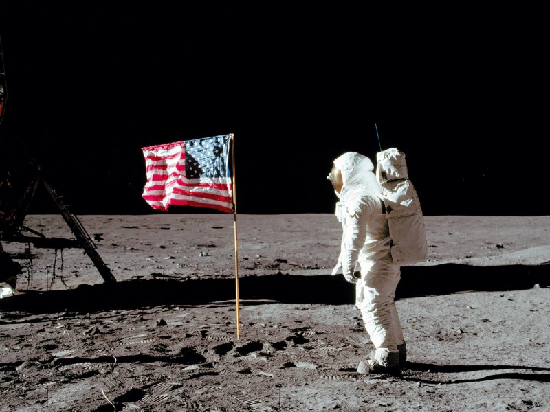 US astronaut Buzz Aldrin salutes the US flag on the moon's surface. Photo: NASA/AFP