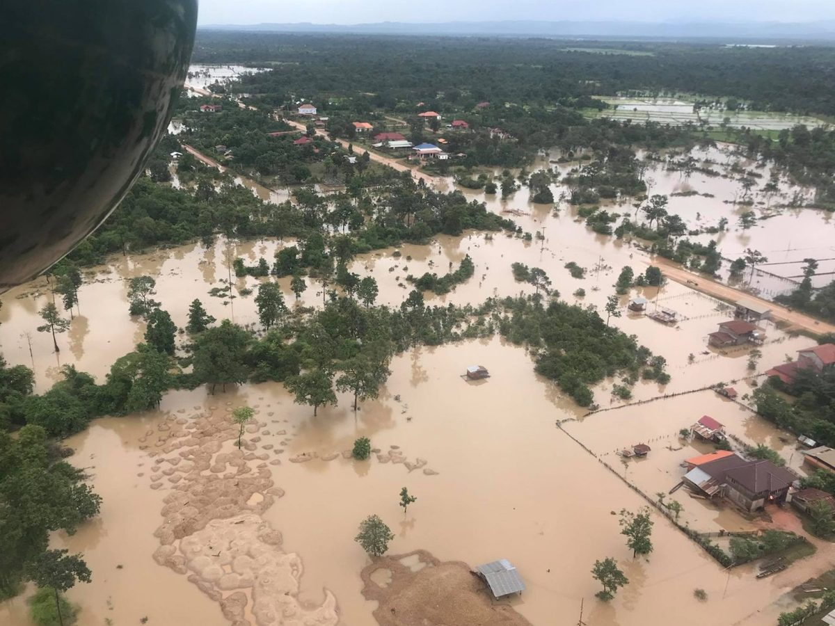 An aerial view of the flood in Attapeu province in southern Laos two days after the Xe-Pian Xe-Nam Noy dam collapsed on July 23. The government says just 40 died, but monitors say many hundreds were likely killed. Photo: AFP/ Mime Phoumsavanh
