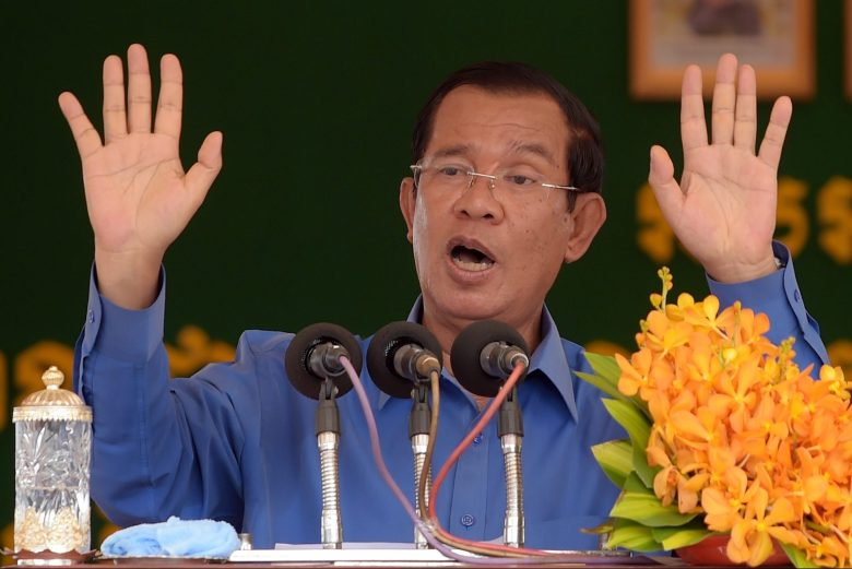 Cambodian Prime Minister Hun Sen delivering a speech during an event attended by garment workers in Kampong Chhnang province. Photo: AFP/Tang Chhin Sothy