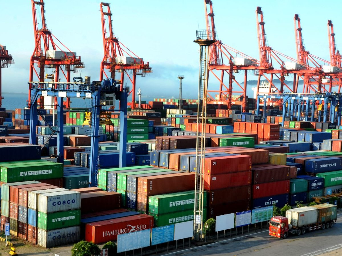 Containers to be shipped abroad at the Port of Lianyungang in East China's Jiangsu province. Photo: AFP