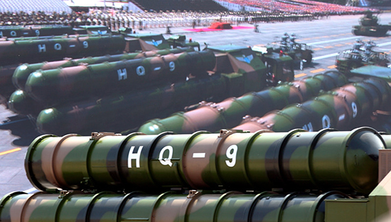 HQ-9 missiles on show during a military parade. Photo: People's Daily