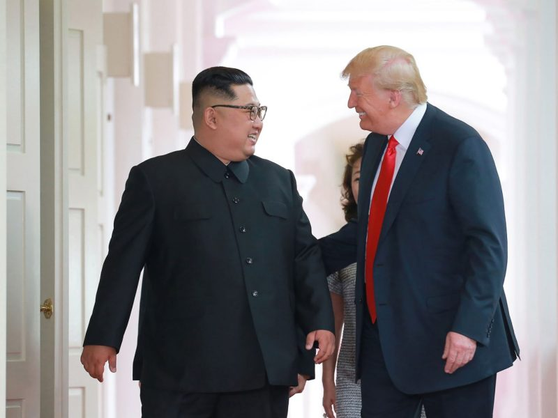 Kim Jong Un and Donald Trump on June 12, 2018 at the Capella Hotel on Sentosa island in Singapore. Photo: AFP/KCNA VIA KNS