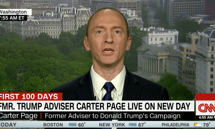 Carter Page, a former adviser to Donald Trump's presidential campaign. Screengrab: CNN
