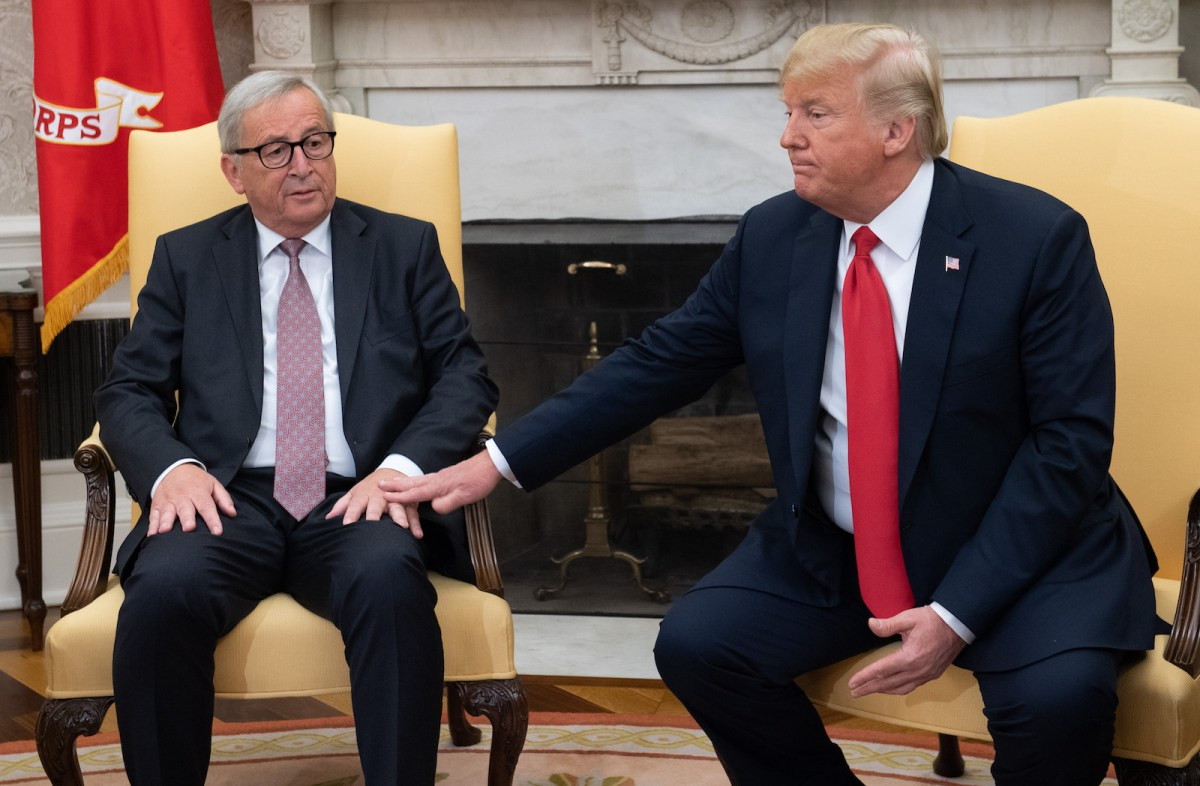 US President Donald Trump with European Commission President Jean-Claude Juncker in the Oval Office of the White House in Washington. Photo: AFP / Saul Loeb
