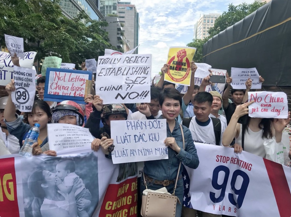 Vietnamese protestors against the proposed Special Economic Zone law, June 2018. Photo: Twitter