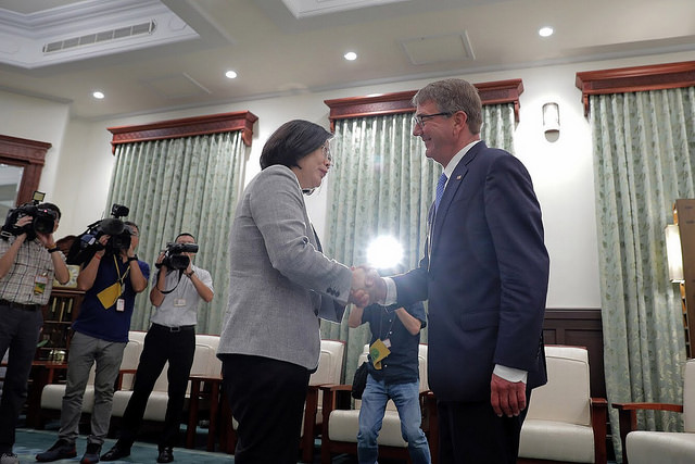 Taiwanese President Tsai Ing-wen met with former US defense secretary Ash Carter in her office in Taipei on Tuesday. Photo: Handout
