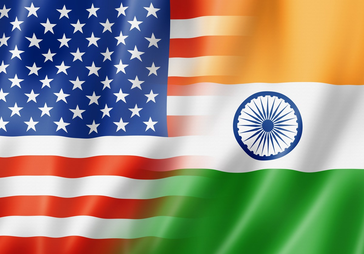 Mixed USA and India flag, three dimensional render, illustration: iStock