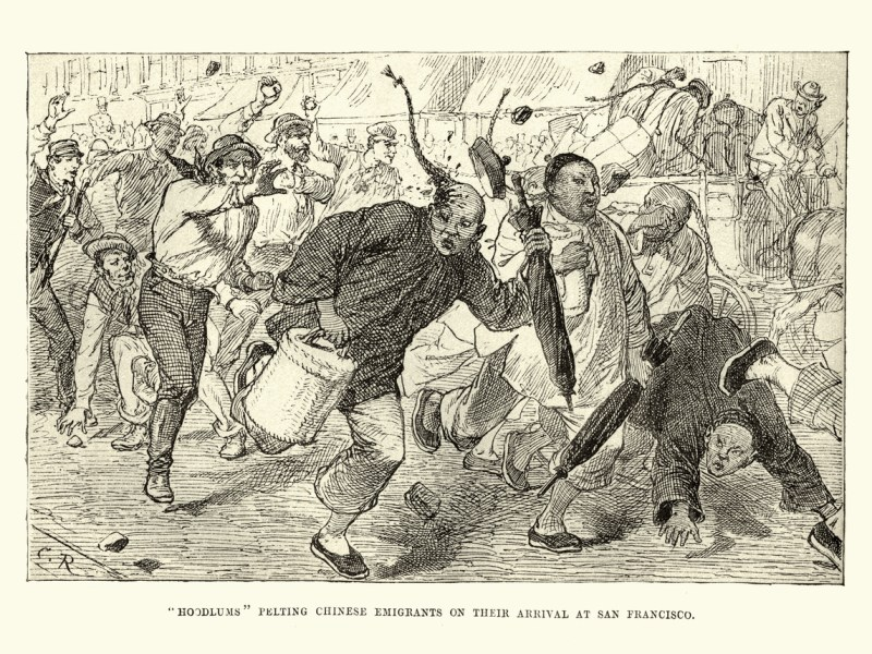 Vintage engraving of Chinese emigrants being attacked by locals, San Francisco, 19th Century. Photo: iStock