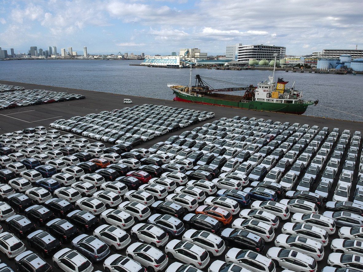 A car lining in the harbor.