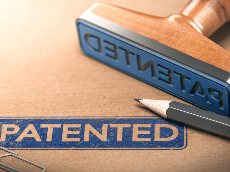 3D illustration of rubber stamp with the text patented. IP law and intellectual property patent concept. Image: iStock
