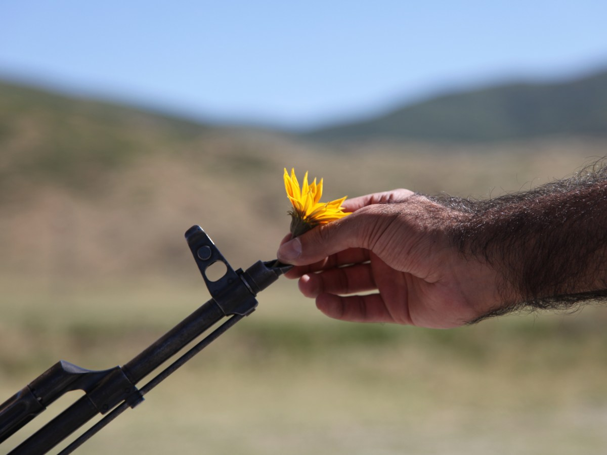 Man putting flowers in barrel of gun representing choosing peace over violence