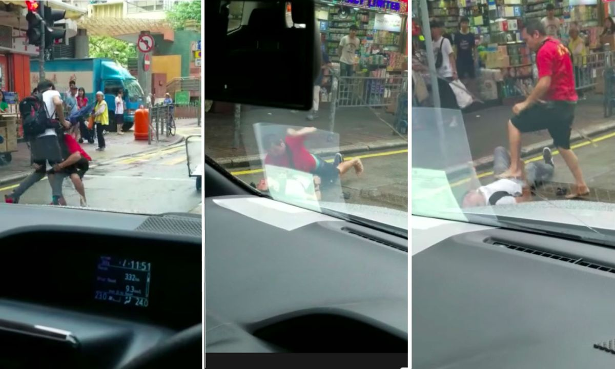 Stills from the video of a fight on Mong Kok, Kowloon. Photo: 巴打絲打 Facebook Club@Facebook