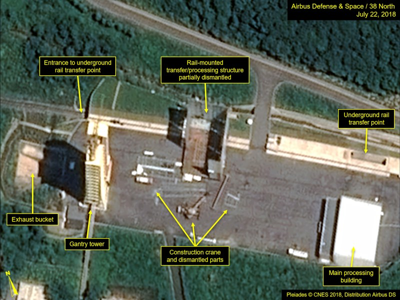This satellite image courtesy of Airbus Defense and Space and 38 North dated July 22, 2018 shows the apparent dismantling of facilities at the Sohae satellite launch site in North Korea. Photo: AFP/ PlÈiades © Cnes 2018, Distribution Airbus DS / Handout