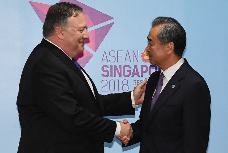 US Secretary of State Mike Pompeo and China's Foreign Minister Wang Yi. Photo: AFP