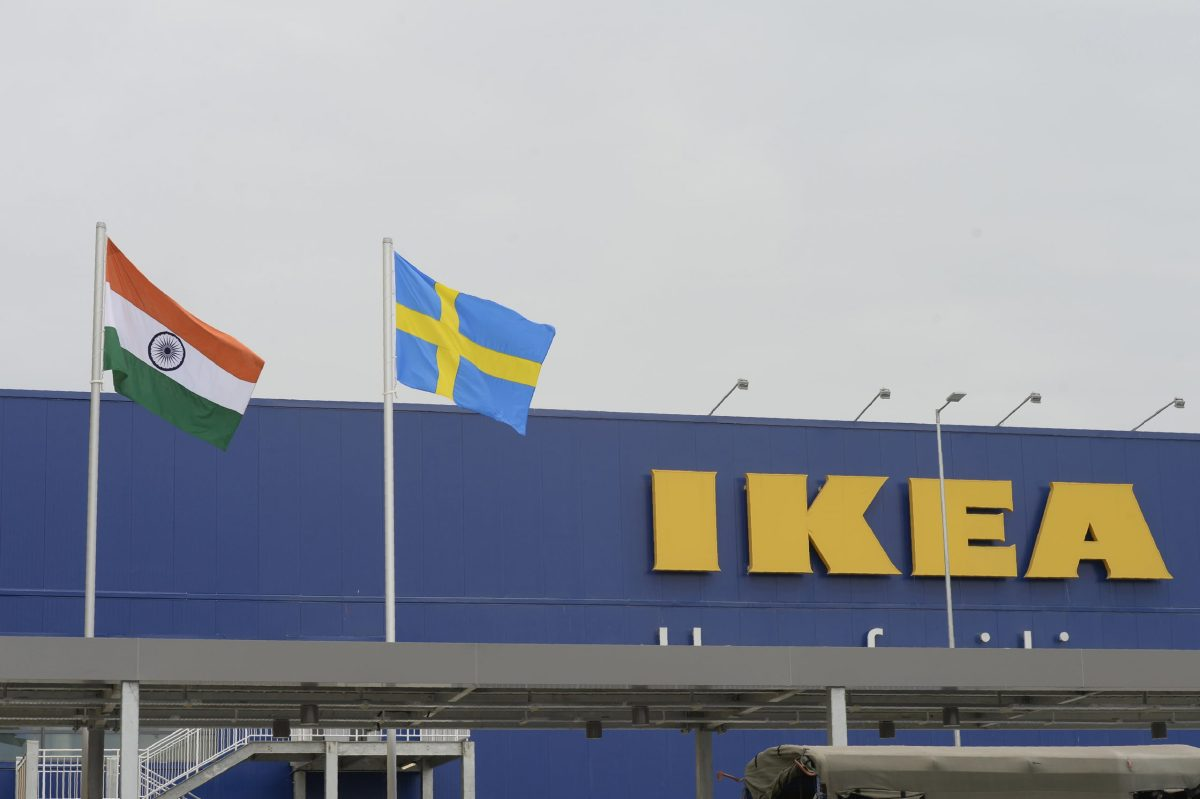 Indian National flag and Swedish flag are pictured at the new IKEA store in Hyderabad. Curious customers lay on beds and nestled into armchairs as Ikea opened its first Indian outlet, hoping to wow a burgeoning middle class with offerings tweaked to local tastes, including its famous meatballs. AFP