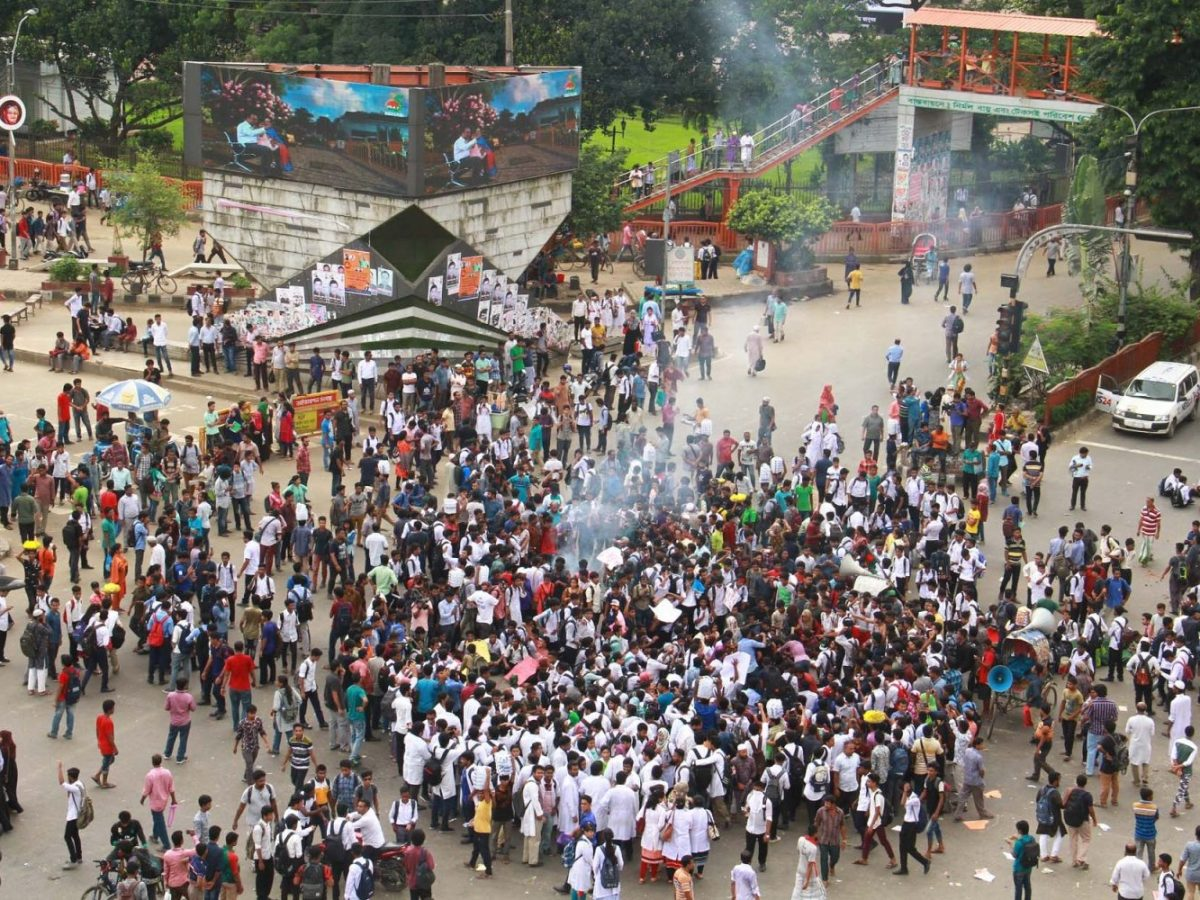 High school and college students protest over the death of two students hit by a speeding bus. They massed for five days to demand greater safety. Photo: Focus Bangla News
