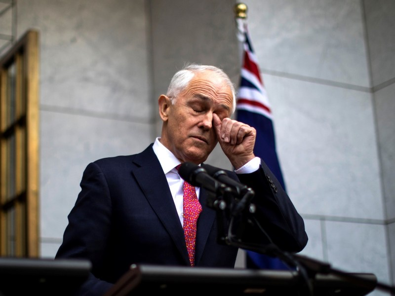 Australia's Prime Minister Malcolm Turnbull gestures as he takes part in a press conference in Canberra on August 21, 2018. Photo: AFP/Sean Davey