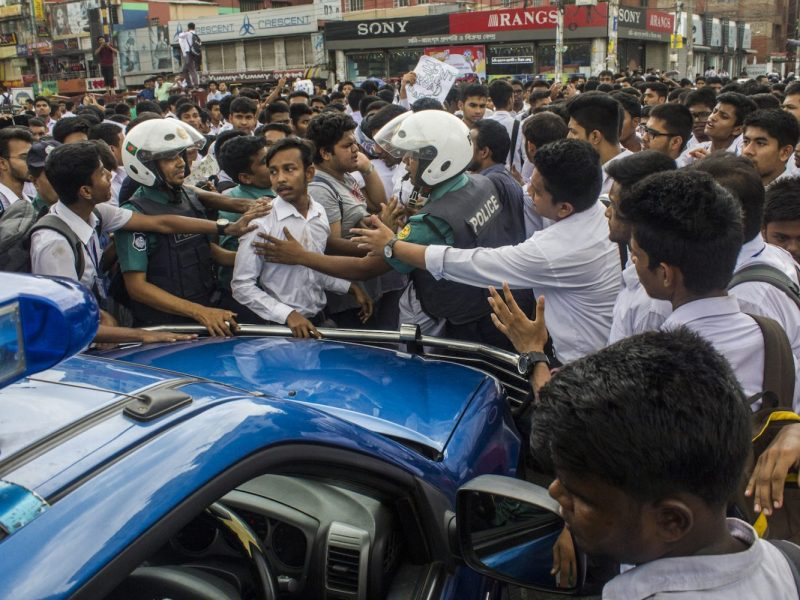 Bangladeshi students mass on the streets of Dhaka after two pupils were killed by a bus in front of their college. Photo: AFP/Khandaker Azizur Rahman Sumon/ NurPhoto